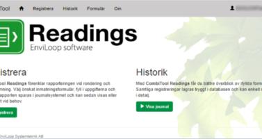 Startsida för CombiTool Readings. Kolla in historik eller registrera nya värden!